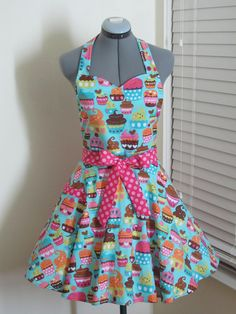Blue Cupcakes Apron  With a hint of Pink   Full by AquamarCouture, $37.00