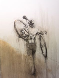 "Image of ""Mud"", de Miquel Wert Cycling Tattoo, Cycling Art, Cycling Quotes, Cycling Jerseys, Bike Tattoos, Bicycle Painting, Bicycle Print, Bike Poster, Vintage Cycles"