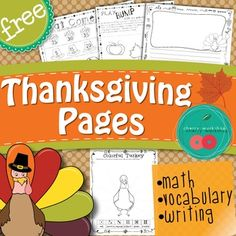 This is a free sample of some of my Thanksgiving Activities.   There is a Thanksgiving Writing Page - draw and write.   Thanksgiving Math pages  - Measure With Acorns, Skip Counting  and    Thanksgiving Vocabulary Pages you can use with ANY Word List - Roll and write your word in the color you get, to make feathers for the turkey.