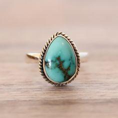 Turquoise Tear Drop Twist Ring   Tribal   Bohemian Gypsy Jewelry   Boho Festival Jewellery   Hippie Style Fashion   Indie and Harper