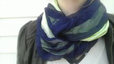 Navy blue & green infinity scarf by PaleDesign on Etsy, $21.00
