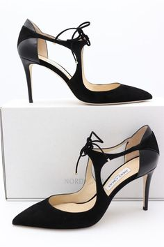 b7b97008181 Details about JIMMY CHOO KAYOMI BLACK CLASSIC LEATHER SUEDE POINTY TOE  PUMPS HEELS 37 6.5 NEW
