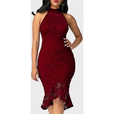 Sleeveless Mock Neck Peplum Hem Burgundy Sheath Dress ($43) ❤ liked on Polyvore featuring dresses, wine red, red peplum dress, red sheath dress, lace dress, lace sheath dresses and midi dress