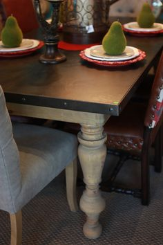Abode Fine Living | industrial dining table | industrial | light wood | wood legs | dark wash | dining room table | dining table | dining room essential
