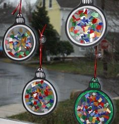 I wanted to share the ornament craft that Kitty from MA, did with her child care. Kitty used cut up bow pieces and laminated the ornaments....
