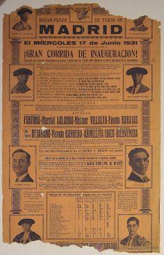 Importante Cartel, Inauguracion Plaza de Las Ventas, Madrid. 1931. (Papel - Carteles Gran Formato - Carteles Toros)