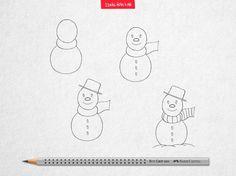 Mesmo não nevando na maioria das regiões do Brasil, o seu filho pode aprender a desenhar esse simpático boneco de neve com você. #IdeiasFeitasAMao