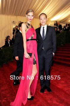 Red Carpet Evening Dress Jewel Fushcia Black Lace Long Karlie Kloss Chiffon Evening Gowns