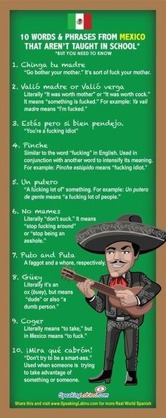 10 Mexican Spanish Swear Words and Phrases Not Taught in School #Infographic   Even if you don't say these expressions, you will hear them and you might be wondering what they mean. #Mexico #SpanishSlang #spanishinfographic