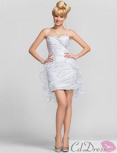 Cute Sheath/Column Sweetheart Short/Mini Charmeuse And Tulle Cocktail Dress