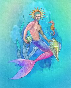 #mermay2017 - new edit of a merman illustration from 2015, very frequently i'm not so happy with final results of my artwork so I always try to edit again after awhile and see how it works! i named him Troy. ✨