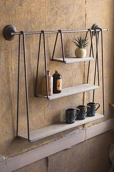 diy Shelves rustic - Kalalou Wood And Metal Triple Hanging Shelf Suspended Shelves, Diy Hanging Shelves, Pallet Shelves, Wood And Metal Shelves, Industrial Shelves, Metal Shelving, Diy Shelving, Rustic Shelves, Glass Shelves