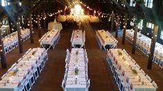 A great floor plan for a larger wedding at Happy Days Lodge with rented white padded chairs