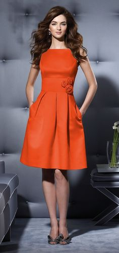 Dessy Bridesmaid Style 2780 in tangerine tango Dress Me Up, Dress Skirt, Dress Work, Dress Robes, Pleated Skirt, Dessy Bridesmaid, Casual Bridesmaid, Orange Bridesmaid Dresses, Pink Dresses
