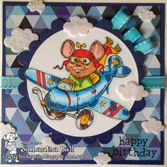 Craftychick Cards: Flying By to say ..... Happy Birthday!