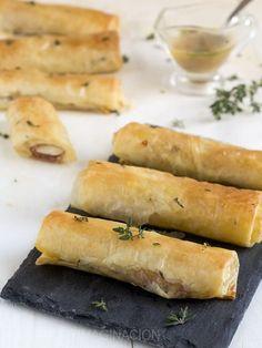 Pollitos de pasta filo con jamón y provolone