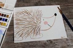 Original Porcupine Watercolor Painting  Woodland by HandmadeByVera