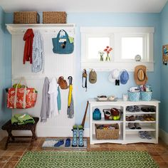 Without much space, most of the storage add-ons needed to take up as little floor space as possible. The solution? A peg wall outfitted with plenty of hooks, and a clever bookcase with shelves for shoes and baskets to hold small items. Decor, Staying Organized, Home Organization, Room, Mudroom, Diy Storage, Home Decor, Low Bookshelves, Storage