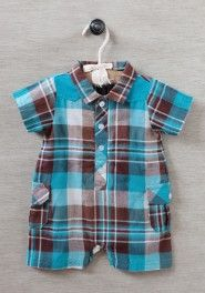 equator plaid romper by Rabbit Moon
