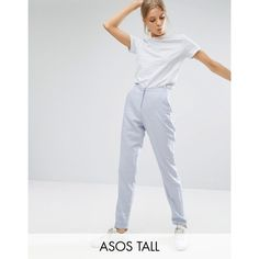 ASOS TALL Linen Cigarette Trousers (245 NOK) ❤ liked on Polyvore featuring pants, silver, high waisted cigarette trousers, cigarette pants, high-waisted pants, zip pants and linen trousers