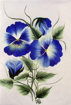 Hand Painted Blue Pansy