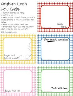 gingham lunch note cards