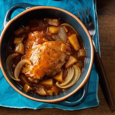 Autumn Apple Chicken Recipe -I'd just been apple picking and wanted to bake something new with the bounty. Slow-cooking chicken with apples and barbecue sauce filled my whole house with the most delicious smell. We couldn't wait to eat. —Caitlyn Hauser, Brookline, New Hampshire