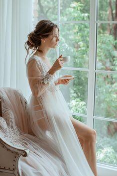 Trying On Wedding Night Lingerie/ Underwear Bridal Robes, Wedding Lingerie, Lingerie Design, Designer Lingerie, Luxury Designer, Wedding Boudoir, Bridal Boudoir Photos, Before Wedding, Glamour