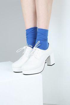 Lace-Up Platform Heel White - THE WHITEPEPPER