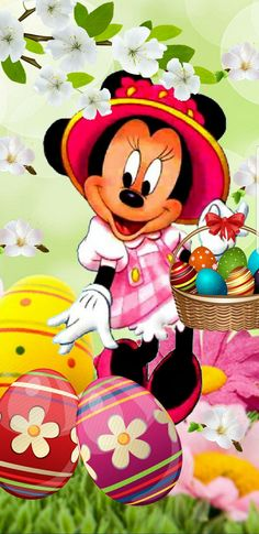 Minnie Mouse Pics, Minnie Mouse Cartoons, Mickey Mouse Images, Mickey Mouse And Friends, Easter Drawings, Art Drawings For Kids, Mickey Mouse Wallpaper Iphone, Disney Wallpaper, Ostern Wallpaper