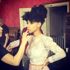 """25 Photos Of Beautiful Natural-Hair Inspiration #refinery29  http://www.refinery29.com/natural-hairstyle-pictures-inspiration#slide-1  This """"Afro-updo with bangs"""" that hairstylist Vernon François (who also styles Lupita Nyong'o) created for singer Lianne La Havas is a chic alternative to the typical topknot — and you don't actually have to have bangs to get the look!Want to recreate it at home? In the words of François: """"Blast your hair until semi-..."""