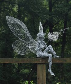 Fantasy Wire Fairies Sculptures - Dandelion {part of the Fairies at Trentham Gardens trail}