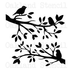 Birds on a branch silhouette STENCIL 12 x 12 for by OaklandStencil