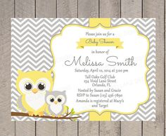 Owls Baby Shower Invitation, Printable, Gender Neutral Baby Shower, Girl or Boy, Yellow and Grey, Mom and baby Owl, Printable - 218