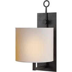 Visual Comfort Studio Aspen Iron Wall Lamp in Black Rust with Natural Paper Shade S2030BR-NP $209.00