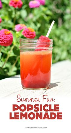 "{Flavored Lemonade} Sometimes I am just floored by the simple ""oh duh"" stuff I find on the web. This is brilliant and so *simple*. One tip? Be sure to use real fruit Popsicles!"