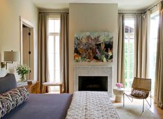 Designer Colleen Waguespack has a gift for creating warm spaces with original art. Old Houses, Home, Interior Designers, House, Fireplace, Studio