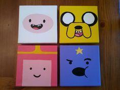 Adventure Time painting Source by eightgoldfish Small Canvas Paintings, Small Canvas Art, Cute Paintings, Mini Canvas Art, Easy Canvas Painting, Simple Acrylic Paintings, Time Painting, Hippie Painting, Trippy Painting
