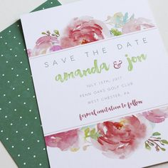 affordable letterpress wedding save the date watercolor flowers #simple #modern #rustic #letterpress www.stockandstamp.com