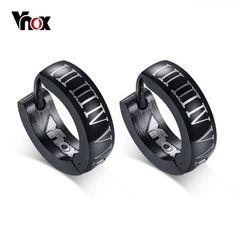 Punk Black Hoop Earrings for Men Roman Numerals High Quality Stainless Steel  Male Jewelry 48786de62f72