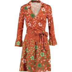 Diane von Furstenberg Sylvia printed silk wrap dress featuring polyvore, women's fashion, clothing, dresses, orange, loose fitting dresses, red sleeve dress, orange wrap dress, diane von furstenberg dress and red silk dress