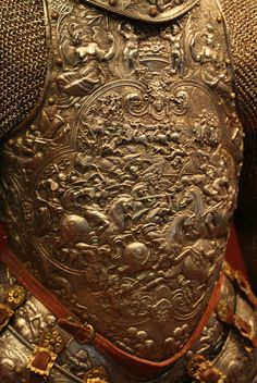 """""Steel, embossed, with traces of gilding French end of century The decoration, originally gilt overall, consists of battle scenes of soldiers wearing classical armor. Ancient Armor, Medieval Armor, Knight In Shining Armor, Knight Armor, Armadura Medieval, Samurai, Cersei Lannister, Jaime Lannister, Suit Of Armor"