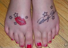 The fourth of my Signature Tattoos is this eyepopping Marilyn Monroe tattoo on the feet. Signature Tattoos, Marilyn Monroe Tattoo, Great Tattoos, Clothes For Sale, Body Painting, Tattoo Inspiration, I Tattoo, Tatoos, Piercings