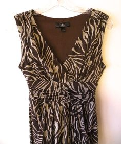 I.N. San Francisco, animal striped, flattering, empire waist dress. size small #INSanFrancisco #EmpireWaist