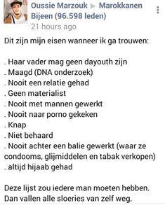 """'Eisenlijst' Marokkaans tuig voor toekomstige vrouw: """"Maagd, altijd hoofddoek, nooit met mannen gewerkt!"""" – De Dagelijkse Standaard"""