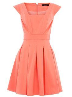 Coral structured piquet dress
