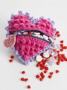 Heart Shaped Candy Bag | Yarn | Free Knitting Patterns | Crochet Patterns | Yarnspirations