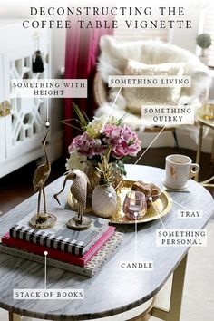 table decorations for home Tips amp; tricks - Home decorating ideas - Coffee Table vignettes - The 7 elements you need to create the perfect coffee table vignette! Its easy when you know what you need for great coffee table style! Coffee Table Vignettes, Coffee Table Styling, Diy Coffee Table, Decorating Coffee Tables, Coffee Table Decor Living Room, How To Style Coffee Table, How To Decorate Coffee Table, What To Put On A Coffee Table, Tray Styling