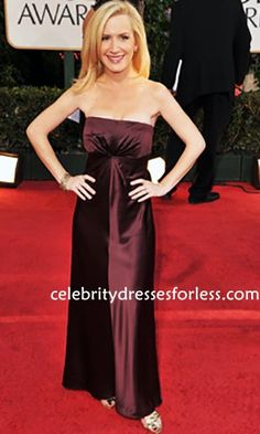 Angela Kinsey Burgundy Ankle-length Strapless Wedding Guest Dress 66th Annual Golden Globe Awards Formal Dress.prom dresses,formal dresses,ball gown,homecoming dresses,party dress,evening dresses,sequin dresses,cocktail dresses,graduation dresses,formal gowns,prom gown,evening gown