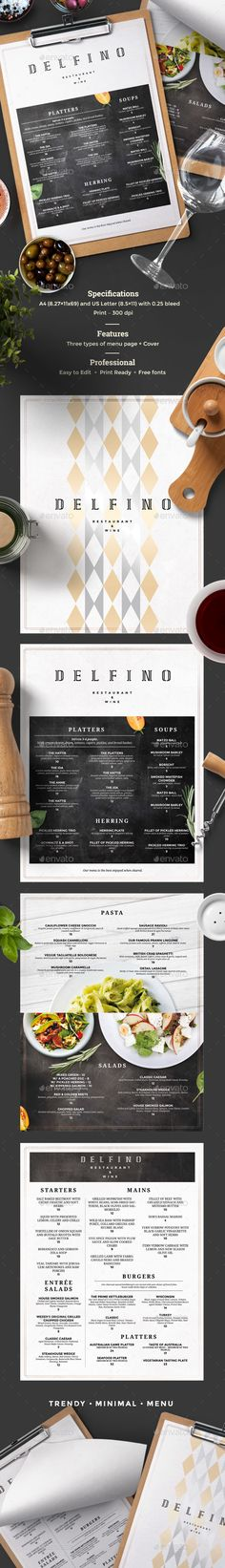 restaurant menu template menu page sizes mm with 3 mm bleed us letter with bleedmode cmyk files incl